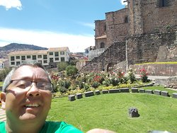 Right beside the convent building (with the beautiful small rose garden seen behind me)