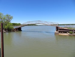 Old bridge near fishing pier and boat ramp. Lake Brownwood State Park, TX