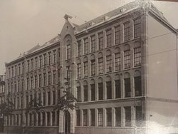A very old photo of the building, possible before it was a hotel.  Taken from a photo of one in the lobby area.