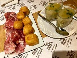 Croquetas caseras de queso Idiazabal y Jamón + Abreboca