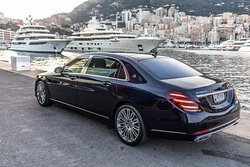 Mercedes-Maybach S560 Limousine rental services with chauffeur, or self-drive rental.