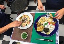 Dish 1: Halloumi and Tomato Salad. [Vegetarian & Gluten Free]  Dish 2: Mezza Platter for 2. [Vegetarian, Gluten Free, Can be made Vegan.