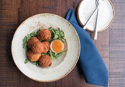 Hush Puppies with Goat cheese, buttermilk, peach glaze