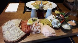 Splendid fish platter and a small fish and chips.