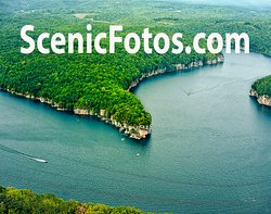 Aerial shot of Long Point on Summersville Lake, WV.