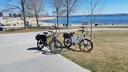 Pedego Interceptors at the Aurora Reservoir. From the front door of Pedego Electric Bikes Southlands to the reservoir, 8 miles around the reservoir and 2 miles back to Pedego, it's a 12 mile round trip. Some people do it in 50 minutes most take their time and are going 1 1/2 to 2 hours on this ride.
