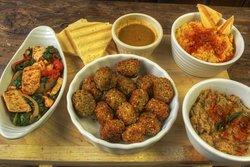 Quinoa croquettes, tofu scramble, hummus and baba ganush