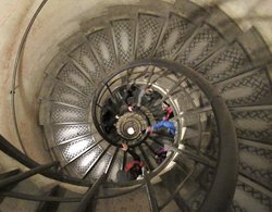 Looking down at the spiral staircase in the Arc de Triomphe.