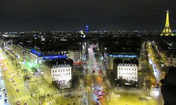 View from the rooftop of the Arc de Triomphe.