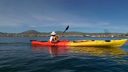 KAYAK AT PININSULA LUQUINA +UROS PADDLING  Luquina is home of the ancestral Aymara speaking community, lucky people living in this unique nature wonder.  As an off the beaten track kayak tour price is a little higher but it worth it!  Before you go ahead to decide to book with us, you should know there is another option almost for the same cost.  If you don't mind to join a group tour by a rapid boat on Lake Titicaca (Titicaca Express for Titicaca uncovered tour) and get a few hours for kayak pa