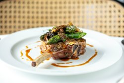 Chargrilled veal cutley with morel mushrooms and asparagus