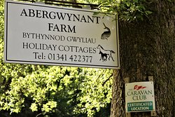 1  Abergwynant Farm; the entrance sign on the road from Dolgellau