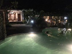Take dinner in our pool, waiting food coming.