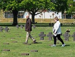 Murray showing us the German cemetery near Omaha Beach.