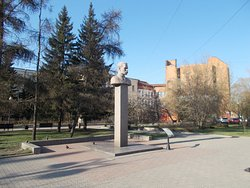Maxim Gorky Monument-Bust, Irkutsk, Russia, located on Lenin St, South of Kirov Square, where Lenin & Gorky Streets meet.