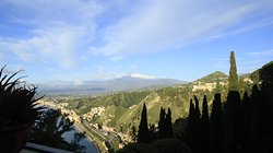 This was the view from our balcony looking down the coast and to a clear view of Mt Etna.