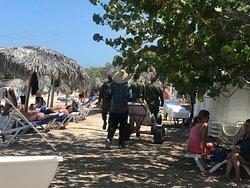 Military regularly patrolling the beach