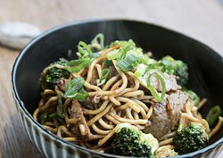 Steak and Broccoli noodles in our patented Asian sauce...