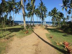 A entrada da praia do Resende. Tem uma passarelinha de madeira da rua até esta parte da areia.