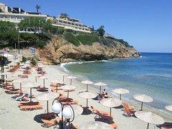 Mononaftis beach, from a table at Stelios'