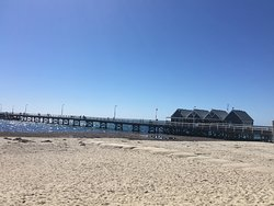 View of part of the Busselton jetty from the beach