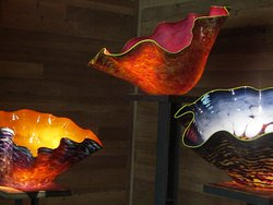 Multicolored glass table pieces.