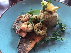 Tasty sea bass and prawns.