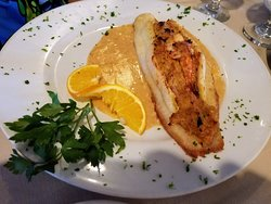 Grouper stuffed with seafood! Awesome entree for a delightful Spring lunch!