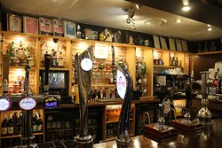 Our bar front with a good selection of ales