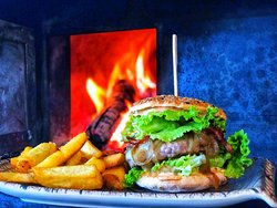 Our Gourmet Hamburger with woodfire homemade bread..