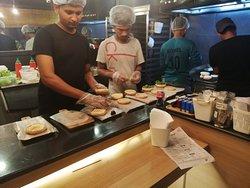 Preparing the burgers