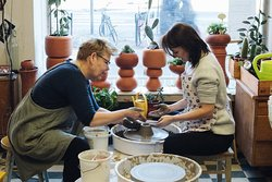 We give Airbnb experience and other pottery wheel workshop at the studio. Photo courtesy of Kavedeart.