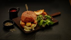 Go for CHEESE. Awesome 3 cheese sandwich served with side salad & wedge fries