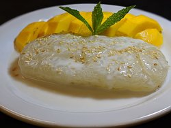 Mango Sticky Rice at Om Cooking is a fresh, ideal dessert for this time of year. A perfect way to end your meal!