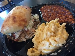 "Pulled pork.....creamy mac & cheese...""Grandma's "" style beans"