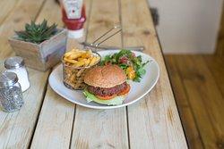 The Secret Garden Spicy Bean Burger & Fries