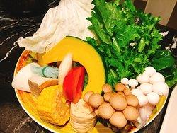 野菜,跟在龍蝦餐中