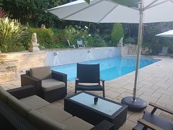 Relax next to the heated pool