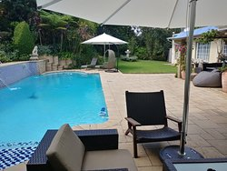 Relax at the patio next to the heated pool