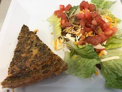 Quiche and side salad, about $8