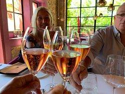 Home grown fizz.....pink bubbles.....at La Table