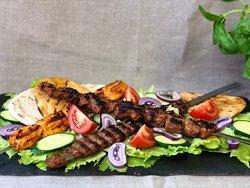 Lamb shish, chicken and kofte kebabs