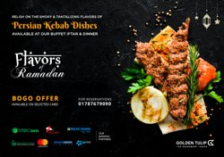 Enjoy relishing on exclusive Persian dishes for your iftar this Ramadan at Flavors of Ramadan. Also, enjoy our huge assortment of sensational buffet dishes at our family-friendly venue. BOGO offer applicable on selected cards:  For reservations, please call: 01787679090