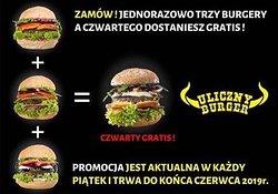 Już dziś piątek 😁 zamów trzy burgery a czwartego dostaniesz gratis 😉👊 Udanego Weekendu 🌦 Zapraszamy 🍔🍽