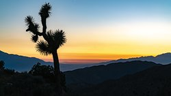 Sunset at Key's View. A drive-up vista in Joshua Tree National Park. You can see the Coachella Valley, the San Andreas Fault, Mount San Jacinto, Mount Gorgonio, and the Salton Lake.