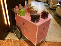 candy trolley in lobby