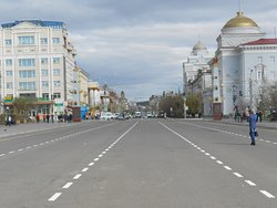 Lenin Square, Chita, Russia. The main street in front of Lenin Square was closed to all vehicular traffic during my 8-day visit.