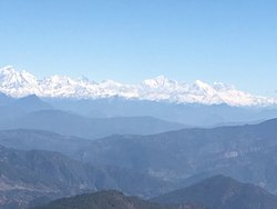 One can view around 350 km stretch of snow covered Himalayas