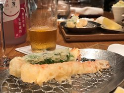 Freshly made Tempura in front of the bar