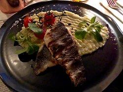 Sea bass with wasabi mash main dish
